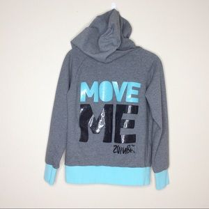 Zumba Sweatshirt Hooded Move Me Glitter Logo Small